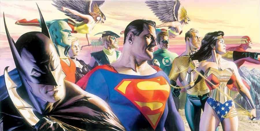 Liga da Justiça no traço realista do desenhista Alex Ross