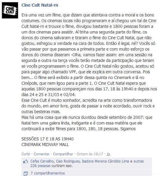 Texto do Cine Cult Natal no Facebook