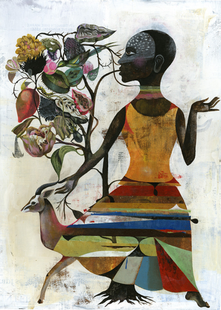 """""""African Dress"""", Acrylic on Wood, 2011, 40cm x 50cm, Whatiftheworld Gallery, Cape Town"""
