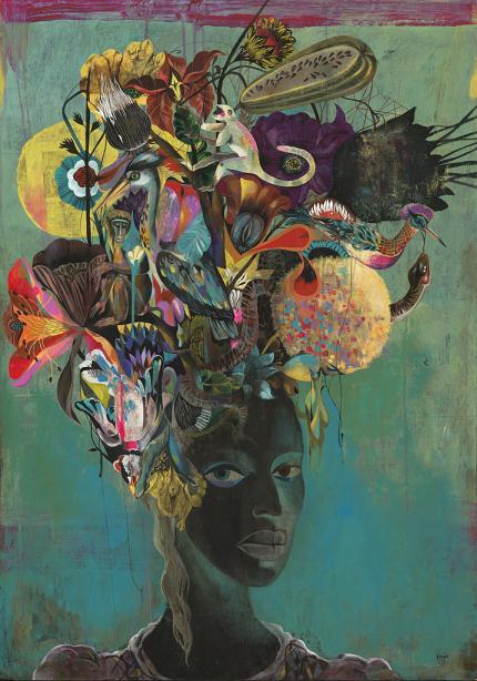 """Black Paradise"" 100x80cm, Acylic on Wood, Whatiftheworld Gallery Cape Town"