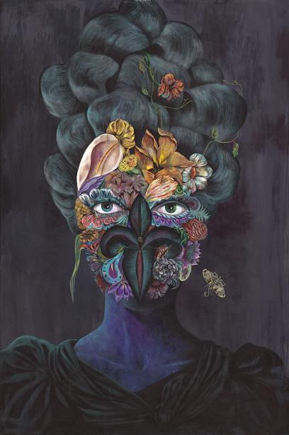 """Black Widow"" 125x80cm, Acylic on Wood, Whatiftheworld Gallery Cape Town"