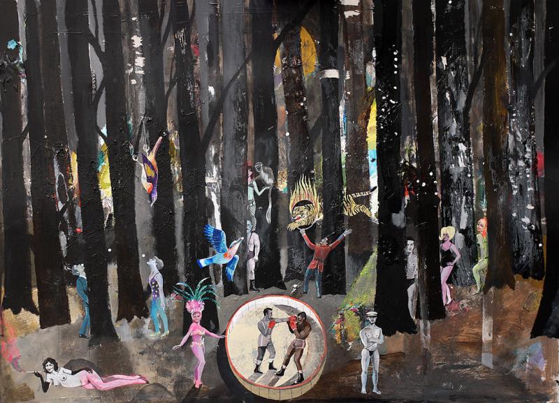 """Foret Noir2"", Acrylic on paper, 2010, 70cm x 100cm, Direktorenhaus Berlin 2010"