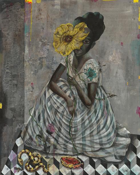 """Hidden Girl"" 100x80cm, Acylic on Wood, Whatiftheworld Gallery Cape Town"